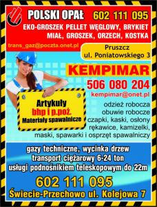 Artykuły BHP i PPOŻ  Pruszcz Pomorski PHU KEMPIMAR